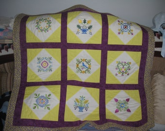 Embroidered Lapquilt