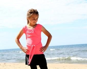 """Girls SwimTop - Modest Swimwear - """"Miriam"""" swim-tee, shirt, sun protection - Girls Modest Swimsuit"""