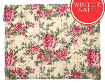 WINTER SALE - Tablet Sleeve / Clutch Bag - Pink Small Rose Pattern with White Background
