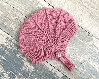 Infant Girl Hat, Newborn Knit Hats, Toddler Girl Hat, Aviator Cap, Pilot Hat for Babies, Baby Knitwear, Newborn Girl Gift, Newborn Knitted