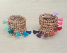 Natural Sandalwood Mala Wrist - Yoga Tassel Bracelet - Choose Your Tassel Color - Bohemian Stack Bracelet - Meditation Tibetan Buddhist Mala