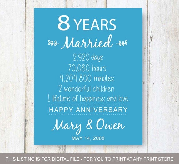 Th anniversary gift eight years of wedding