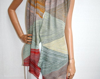 """Wearable art - scarf and wrap top in """"Stone colours"""" unique!"""