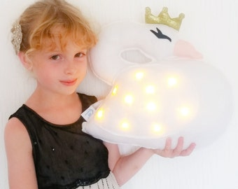 Light up Princess Swan cushion, girls room decor, gift for girls, kids room decor, nursery decor