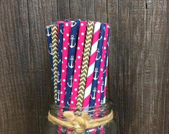 125 Hot Pink, Gold and Navy Blue Stripe, Chevron, Polka Dot and Anchor Paper Straws- Nautical Theme Party Supply- Baby Shower or Birthday