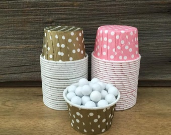 Gold and Pink Paper Snack Cups - Set of 48 - Polka Dot Candy Cup - Birthday Party - Mini Ice Cream Cup - Paper Nut Cup - Same Day Shipping