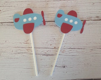 Airplane cupcake toppers set of 12 or 24