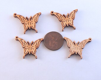 7 PCS Wood Laser Cut Flying Butterfly Charm - Wooden Macrame Charm - Hemp Jewelry Charm