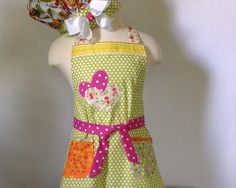 Girl's Apron and Chef Hat, Green Polka Dot, Child's Apron Set, Girl's Party Apron