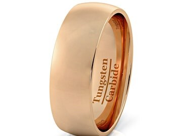 Mens Wedding Band Rose Gold Tungsten Ring 8mm Dome Tungsten Carbide Comfort Fit