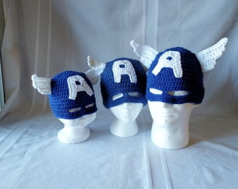 Captain America Masked Beanie - Infant to Adult sizes