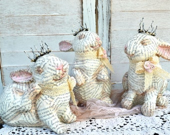 Sale 15% off - Spring Bunnies, Jean D' Arc, French Nordic Look