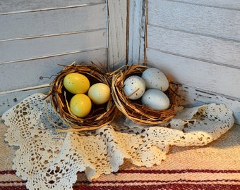 Decorative Spring Egg Nests Robin's Egg and Pale Yellow Egg