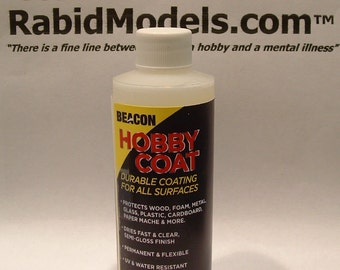 BEACON HOBBY COAT  4oz bottle - Sealer/protector fluid. Clear, permanent, flexible semi-gloss. Fast drying!  With 2oz spray bottle!