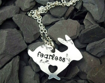 Hand Stamped 'Fearless' Aluminium Bunny Rabbit Necklace, Rabbit Jewellery, Bunny Jewelry, Unique Design, Handmade, Rabbit Lovers, Hearts