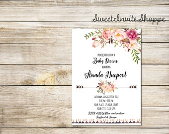 Baby Shower Invitation, Watrcolor Boho Floral Baby SHower Invitation, Floral Peony Invitation, Tribal Invitation, Floral Baby Shower Invite