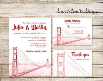 San Francisco Golden Gate Bridge Wedding Invitation Suite,  San Francisco Skyline Wedding Invitation, Cityscape Invites, Destination Wedding