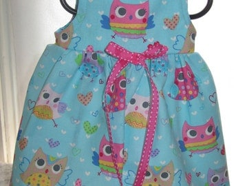 READY to SHIP Owl Doll Dress will fit Bitty Baby or any 15 inch doll