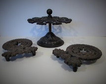 Pair Of Victorian Cast Iron Trivets And Rare Cast Iron Rubber Stamp Tree - Well Used /MEMsArtShop.
