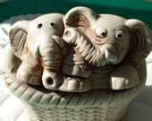 Vintage Twin Elephants Pottery Planter in Ceramic Basket presented by Donellensvintage