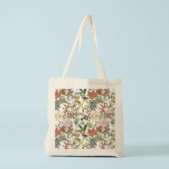 Botanical Tote Bag, canvas bag, groceries bag, gift for women, gift for coworker, novelty gift, hand bag, shopper bag.