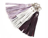 Tassel Leather Keychain, Fringe Clutch Purse Charm, Silver Tassel Key Fob, Purple Leather Tassel, Metallic Tassel Keyring, Fringe Charm