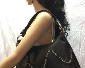 Black Faux Leather Purse, Bag, Silver Chains, Shoulder Bag