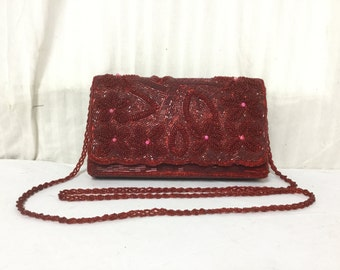 Free ship,Beaded bag, Red, Beaded, Purse,bag, Shoulder Bag,converts to clutch,pink