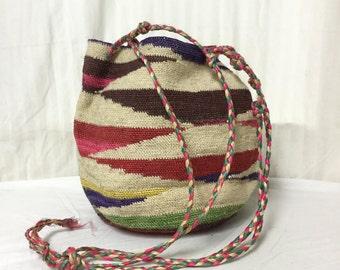 Vintage Sisal Purse,bag, Shoulder Bag,tan,red,green,yellow