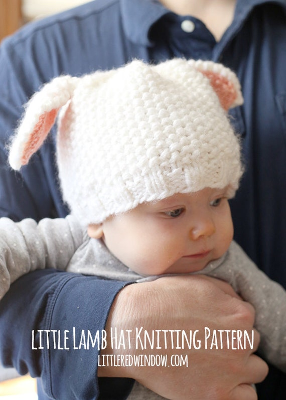 Little Lamb Baby Hat KNITTING PATTERN - knit hat pattern for babies, infants - sizes 0-3 months, 6 months, 12 months, 2T+