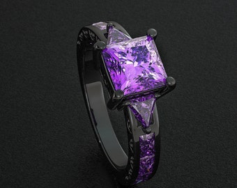 Black Gold Filled Ring Purple Lavender Amethyst Princess Cut CZ Diamonds