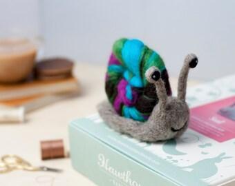 Snail Needle Felting Kit - Felting Snail Craft Kit - craft kit gift - felt snail project - snail craft kit for adults - needle felting kit