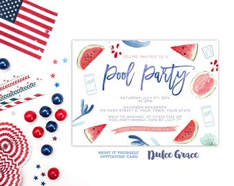Pool party invitation, 4th July pool party invites, July 4th pool bash invitations, watermelon invitations, summer party invites, printable