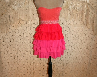 Party Dress Short Prom Dress Strapless Mini Ruffle Dress XS Small Boho Eyelet Hot Pink Coral Anthropologie Size 2 Size 4 Womens Clothing