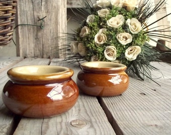 Small Butter Dishes - Set of 2 - Pearsons of Chesterfield - Vintage Mustard Pot - Ceramic Condiment Pot - Made in England - Tiny Planter