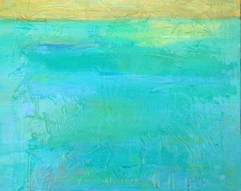 "Original abstract landscape, modern color field blue and yellow painting, ""On the Horizon II"" - 10""x10"""