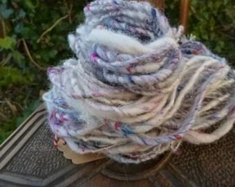 Hand Spun Yarn, Hand spun art yarn, Hand dyed yarn: WINTER GARDEN