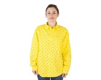 Vintage 90s Calvin Klein Yellow Polka Dot Button-down Shirt | Minimalist Preppy | Boho Chic | Punk Grunge Top