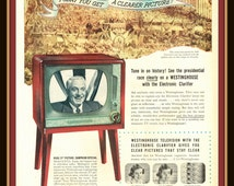 "1952 Westinghouse Huge 21"" Picture Television vintage print ad- See the presidential race on a Westinghouse- Ephemera, to frame, nostalgia"