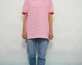 Vintage 90s Polo Ralph Lauren Oversized Pink & White Striped Polo Shirt Short Sleeves Boyfriend Slouchy Preppy Retro Hipster Festival Large