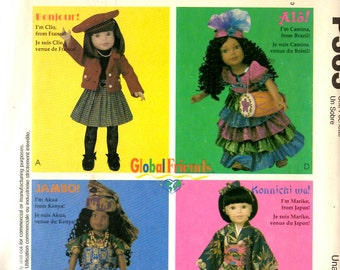 McCall's P363 Doll Clothes Global Friends Around the World France Japan Kenya Brazil American Girl Doll Clothes