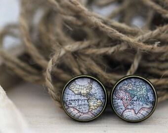 World Map Earrings, Map Earrings, Globe Earrings, Antique World Map Earrings, Map Jewelry, World Map Jewelry, Map Studs, Travel Jewelry