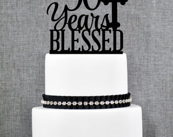 90 Years Blessed Cake Topper, Classy 90th Birthday Cake Topper, 90th Anniversary Cake Topper- (T247-90)