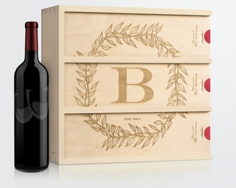 Monogram Anniversary Wine Box - Monogram Cottage // Personalized Wedding Gift // Wedding Wine Box // Wedding Gift for the Couple // Engraved