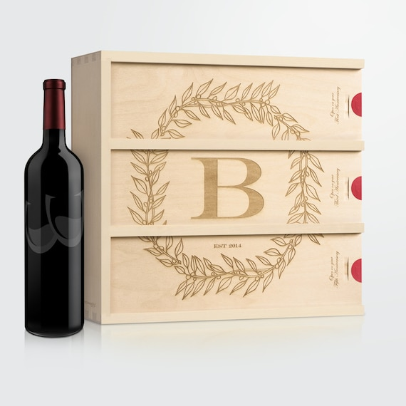 Anniversary Wine Box Monogram Cottage // Personalized