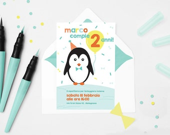 Printable penguin party invitation - Modern little boy birthday invitation - Fully customizable card in orange, yellow and mint green