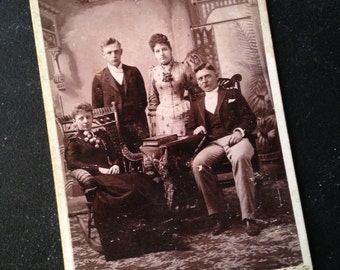 Antique cabinet card photo Victorian family late 1800s VGC Indiana from MilkweedVintageHome