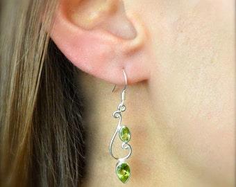 Vine Peridot Dangle Earrings