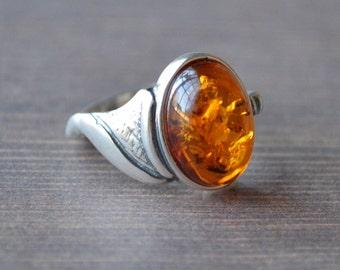 Petite Golden Amber Ring