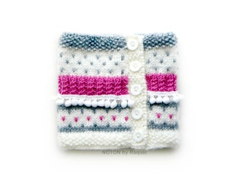 Girls Knit Cowl, Pom Pom Cowl Scarf, Minky Scarf